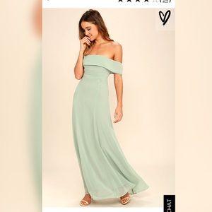 Lulus Sage Off The Shoulder Maxi Dress